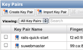 Screenshot Amazon Key Pairs
