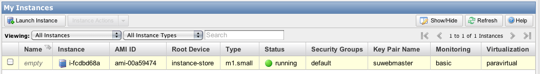 Screenshot a running instance on Amazon EC2